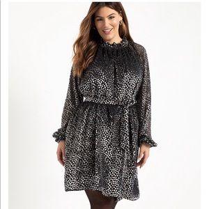 ELOQUII Elements Flock Dot Easy Dress